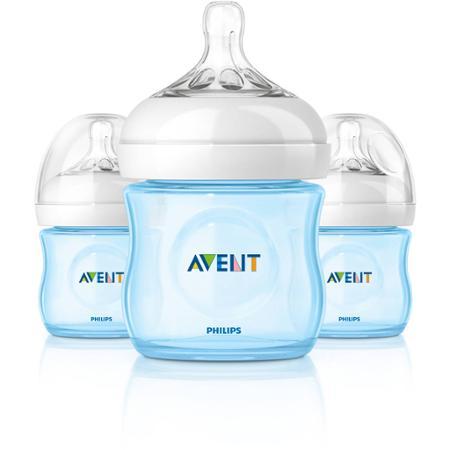ขวดนม 4oz สีฟ้า รุ่นใหม่ล่าสุด นวัตกรรมใหม่ของ PHILIPS AVENT NATURAL FEEDING BOTTLEPACK 3 X 125ml (Polypropylene , BPA-free)