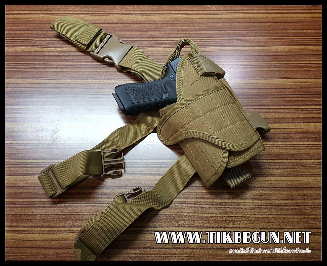 ซองปืนพกปลดเร็วรัดต้นขา สำหรับปืนสั้น หลายๆรุ่น (ปรับขนาดได้) สีเขียว