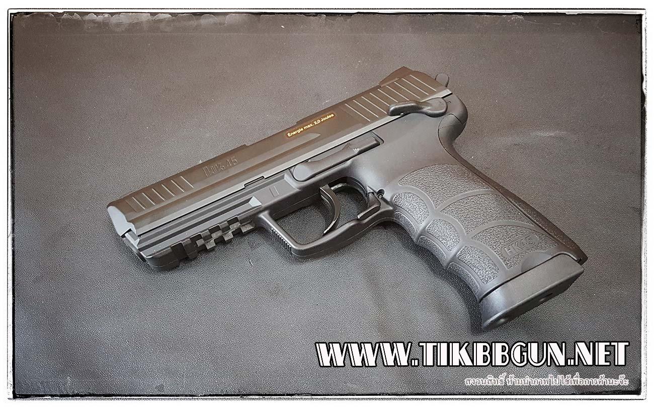 ปืนอัดลม (ปืนระบบแก๊ส Co2) รุ่น Hk45 ไม่โบลว์แบล็ค