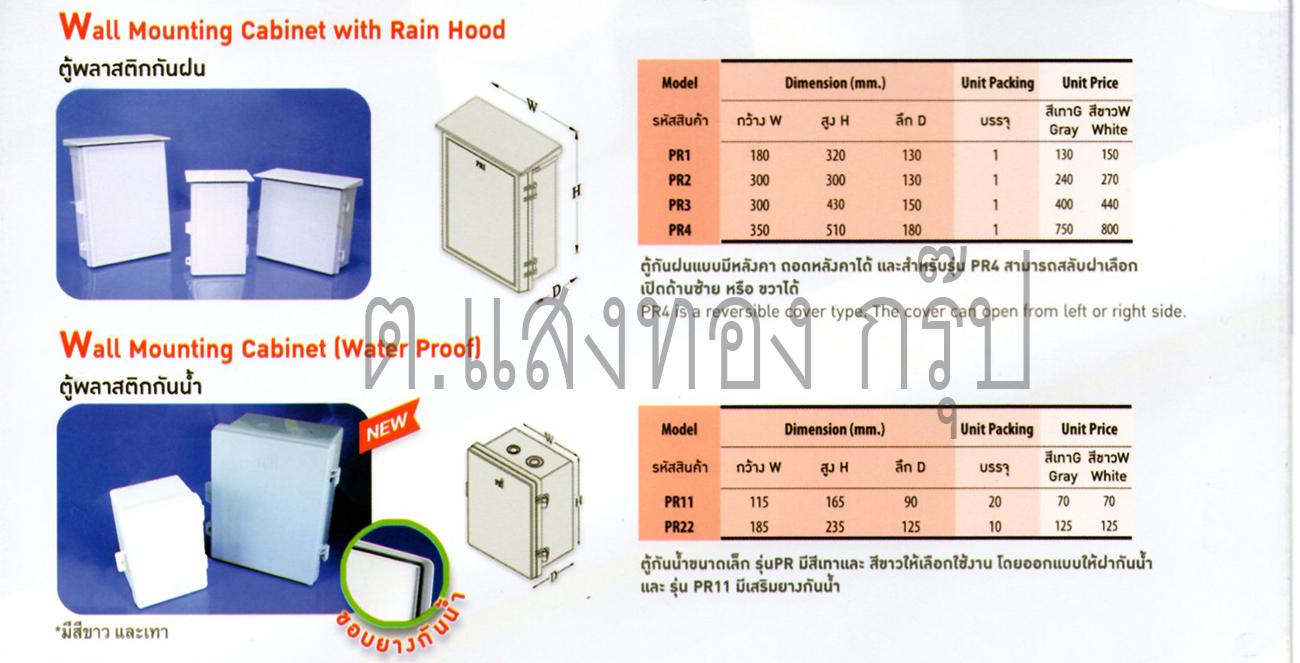 ตู้และบล็อคพลาสติก Pri กันฝนติดตั้งภายในภายนอก จาก Pri