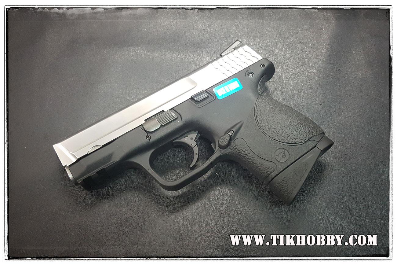 ปืนสั้นระบบแก๊สโบลว์แบล็ค รุ่น M&P มินิ(3.8) สไลด์เงิน ไม่ยิงลาย