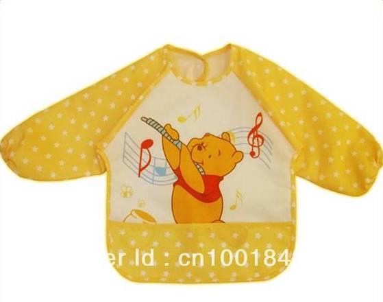 ผ้ากันเปื้อน แบบสวม แขนยาว ผ้ากันน้ำ ลายหมีพูห์