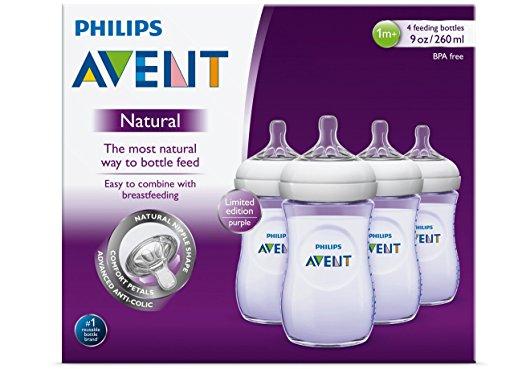 ขวดนม Philips Avent สีม่วง ขนาด9oz แพค 4 ขวด Philips AVENT Natural Bottle, Purple, 9 Ounce, 4 Count ออกใหม่ (Polypropylene , BPA-free)