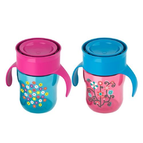 ถ้วยน้ำพร้อมฝาปิด Philips AVENT 9 Ounce Natural Drinking Cup, 2-Pack แพคคู่ ลายดอกไม้ สีชมพู ฟ้า