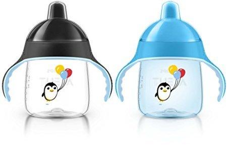 ถ้วยหัดดื่ม Philips AVENT My Penguin Sippy Cup, Blue, 7 Ounce (Pack of 2) ลายเพนกวิน