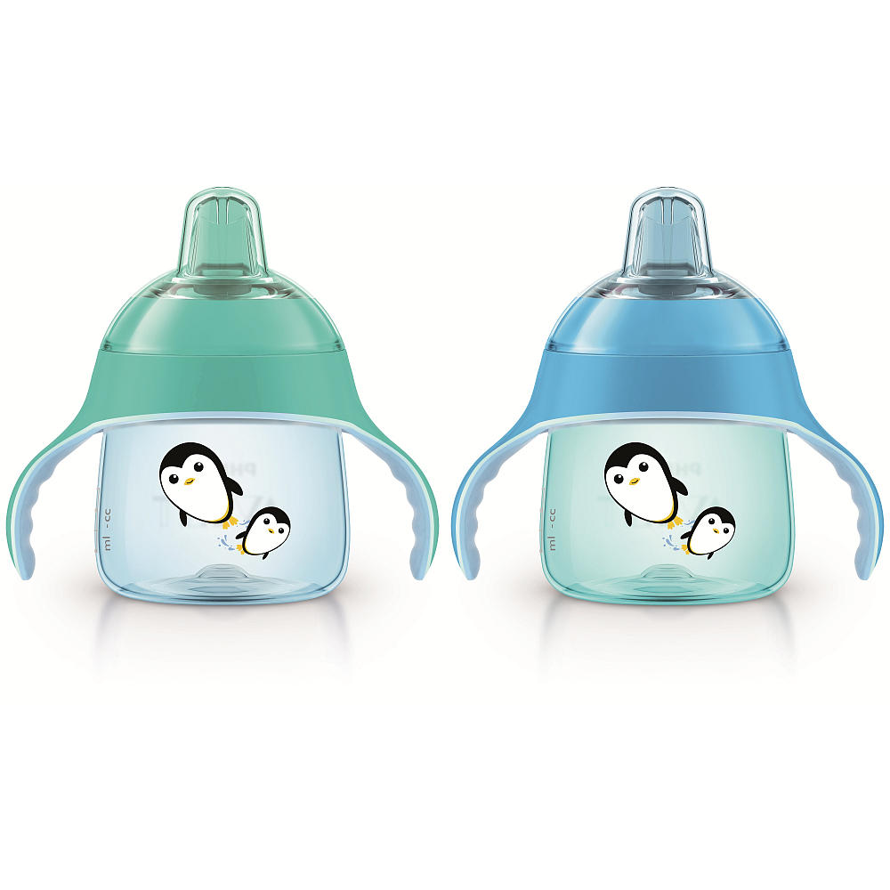 ถ้วยหัดดื่ม Philips AVENT My Penguin Sippy Cup, 7 Ounce (Pack of 2) - Blue / Teal ลายเพนกวิน สีเขียว ฟ้า
