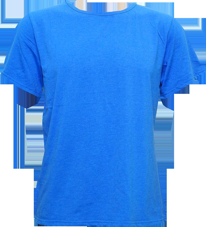 T-Shirt Cotton Spandex แขนสั้น สีน้ำเงิน