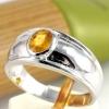 แหวนพลอยผู้หญิงเงินแท้ 92.5 เปอร์เซ็น ฝังด้วยพลอยบุษราคัมแท้
