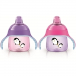 ถ้วยหัดดื่ม Philips AVENT My Penguin 9 Ounce Sippy Cup 2 Pack - Pink Purple ลายเพนกวิน สีชมพู-ม่วง
