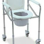 PS119 เก้าอี้นั่งถ่ายเหล็กชุบโครเมี่ยม พร้อมถังรองถ่ายและฝาปิด มีล้อเลื่อน