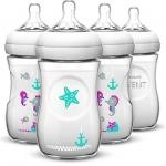 ขวดนม Philips Avent ลายปลาดาว ขนาด9oz แพค 4 ขวด Philips AVENT Natural Bottle, Teal, 9 Ounce, 4 Count ออกใหม่ (Polypropylene , BPA-free) สำเนา