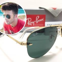 แว่นกันแดด Rayban RB3449 Rimless Aviator 001/71 59-14 3N <ไร้ขอบ>