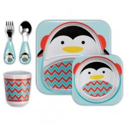 ชุดจาน ชาม ช้อน ส้อม และ ถ้วยน้ำ Skip Hop Zoo Winter Feeding Set, Penguin ลายนกเพนกวิน