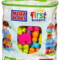 ตัวต่อเสริมสร้างจินตนาการ Mega Bloks First Builders Big Building Bag, 60-Piece (Trendy)