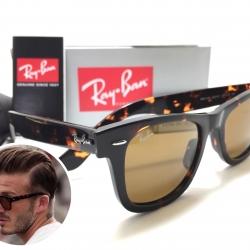 แว่นกันแดด Rayban RB2140 Wayfarer 902/57 50-22 3N <ชาเต็มบาน>