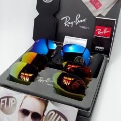 แว่นกันแดด Rayban RB3460 Flip Out Aviator 001/71 K 59-13 3N <ปรอท>
