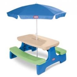 โต๊ะปิดนิค พร้อมร่มกันแดด Little Tikes Easy Store Picnic Table with Umbrella สีฟ้า