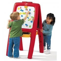 กระดานแห่งการเรียนรู้ Step2 Easel For Two with Bonus Magnetic Letters/Numbers สีแดง