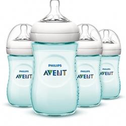 ขวดนม Philips Avent สีเขียว ขนาด9oz แพค 4 ขวด Philips AVENT Natural Bottle, Teal, 9 Ounce, 4 Count ออกใหม่ (Polypropylene , BPA-free)