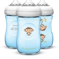 ขวดนม 9oz สีฟ้า ลายลิง รุ่นใหม่ล่าสุด นวัตกรรมใหม่ของ Philips AVENT 9 Ounce BPA Free Natural Polypropylene Bottles, 3 Pk, Blue Monkeys