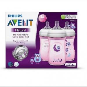 ขวดนม 9oz สีชมพู ลายนกฮูก รุ่นใหม่ล่าสุด นวัตกรรมใหม่ของ Philips AVENT 9 Ounce BPA Free Natural Polypropylene Bottles, 3 Pk, Pink owls