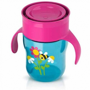 ถ้วยน้ำพร้อมฝาปิด Philips AVENT 9 Ounce Natural Drinking Cup, Girl สีชมพู