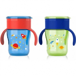ถ้วยน้ำพร้อมฝาปิด Philips AVENT 9 Ounce Natural Drinking Cup, 2-Pack แพคคู่ ลายอวกาศ สีฟ้า เขียว
