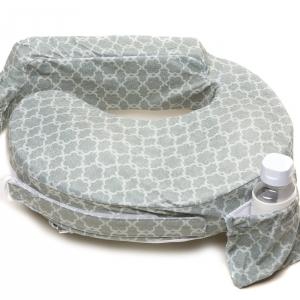 หมอนรองให้นม My Brest Friend Nursing Pillow รุ่น Deluxe ลาย Flower Key, Grey สีเทา
