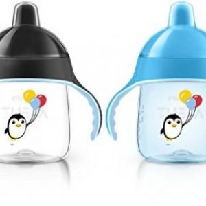 ถ้วยหัดดื่ม Philips AVENT My Penguin Sippy Cup, Blue, 9 Ounce (Pack of 2) ลายเพนกวิน ออกใหม่ล่าสุด