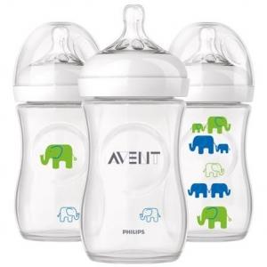 ขวดนม 9oz รุ่น Natural สีขาว ลายช้าง สีฟ้า เขียว AVENT Elephant 9oz Bottle, BPA-Free, 3-Pack (Polypropylene , BPA-free)