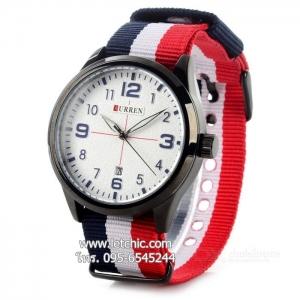 นาฬิกา Curren นาฬิกาข้อมือ unisex สายผ้านาโต้ รุ่น M8195 WH BK TH สีขาวดำธงชาติ ของแท้ รับประกันศูนย์ 1 ปี ราคาพิเศษ ราคาถูกที่สุด