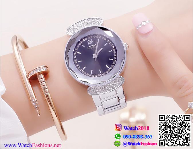 นาฬิกาข้อมือแฟชั่นนำเข้า ผู้หญิง GEDI สีเงิน หน้าดำ กันน้ำ + ของแท้