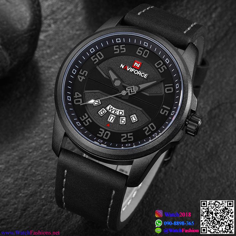 นาฬิกาข้อมือแฟชั่นนำเข้า ผู้ชาย NAVIFORCE สีดำ สายดำ กันน้ำ + ของแท้ + มีประกัน