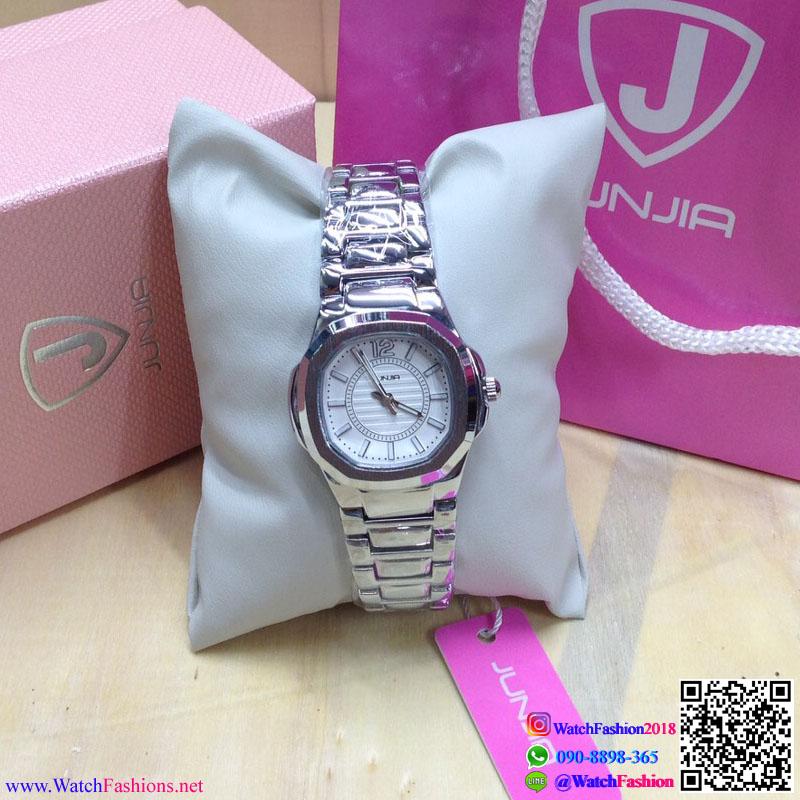 นาฬิกาข้อมือแฟชั่นนำเข้า ผู้หญิง JUNJIA SILVER กันน้ำ + ของแท้