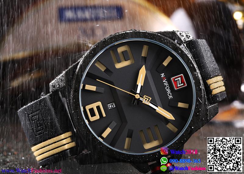 นาฬิกาข้อมือแฟชั่น ผู้ชาย NAVIFORCE สีดำสายแถบน้ำตาลอ่อน สายซิลิโคน กันน้ำ + ของแท้