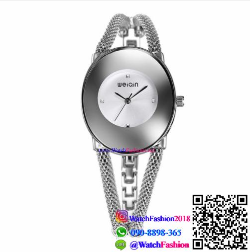 นาฬิกาข้อมือแฟชั่นนำเข้าผู้หญิง WEIQIN สีเงิน กันน้ำ + ของแท้
