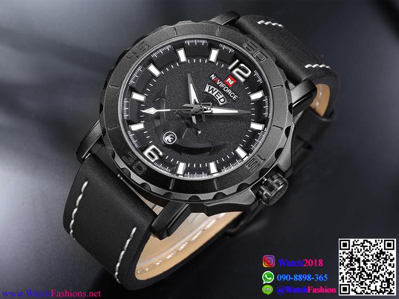 นาฬิกาแฟชั่นผู้ชาย NAVIFORCE สีดำ สายดำ ด้ายขาว เทห์ มีสไตล์ เหมาะมากสำหรับคอ สปอร์ต