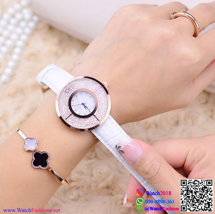 นาฬิกาข้อมือแฟชั่นนำเข้า ผู้หญิง GEDI สีขาว กันน้ำ + ของแท้