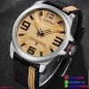นาฬิกาข้อมือแฟชั่น ผู้ชาย NAVIFORCE สีน้ำตาลอ่อน สายซิลิโคน กันน้ำ + ของแท้