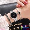 นาฬิกาข้อมือแฟชั่นนำเข้า ผู้หญิง GEDI สีเงินหน้าดำ กันน้ำ + ของแท้