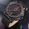 นาฬิกาแฟชั่นผู้ชาย NAVIFORCE สีดำ สายดำด้ายแดง เทห์ มีสไตล์ เหมาะมากสำหรับคอ สปอร์ต