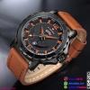 นาฬิกาแฟชั่นผู้ชาย NAVIFORCE สีดำ สายน้ำตาลอ่อน เทห์ มีสไตล์ เหมาะมากสำหรับคอ สปอร์ต