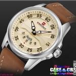 นาฬิกาข้อมือแฟชั่นนำเข้า ผู้ชาย NAVIFORCE สีเงิน สายน้ำตาล กันน้ำ + ของแท้ + มีประกัน