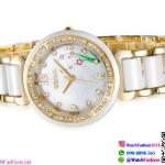 นาฬิกาข้อมือแฟชั่นนำเข้า ผู้หญิง WEIQIN หน้าปัดดอกไม้ สีทอง กันน้ำ + มีประกัน