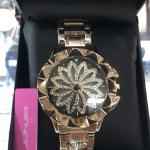นาฬิกาข้อมือแฟชั่นเกาหลี ผู้หญิง JUNJIA กังหัน สีทอง กันน้ำ + ของแท้
