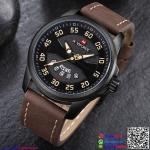 นาฬิกาข้อมือแฟชั่นนำเข้า ผู้ชาย NAVIFORCE สีดำ สายน้ำตาลเข้ม กันน้ำ + ของแท้ + มีประกัน