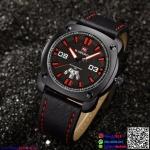 นาฬิกาข้อมือแฟชั่นนำเข้า ผู้ชาย NAVIFORCE สีดำ สายดำด้ายแดง เทห์ มีสไตล์ แนว สปอร์ต กันน้ำ + ของแท้ + ประกัน