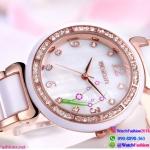 นาฬิกาข้อมือแฟชั่นนำเข้า ผู้หญิง หน้าปัดดอกไม้ สีชมพู กันน้ำ + มีประกัน