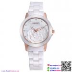 นาฬิกาข้อมือแฟชั่นนำเข้า ผู้หญิง WEIQIN สีขาว สายเซรามิก สวยหรู ดูดี กันน้ำ + รับประกัน