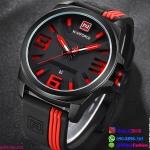 นาฬิกาข้อมือแฟชั่น ผู้ชาย NAVIFORCE สีแดง สายซิลิโคน กันน้ำ + ของแท้